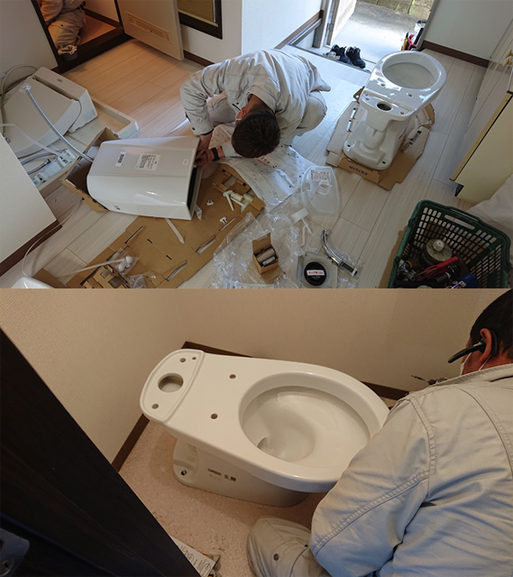 トイレ組み立て作業
