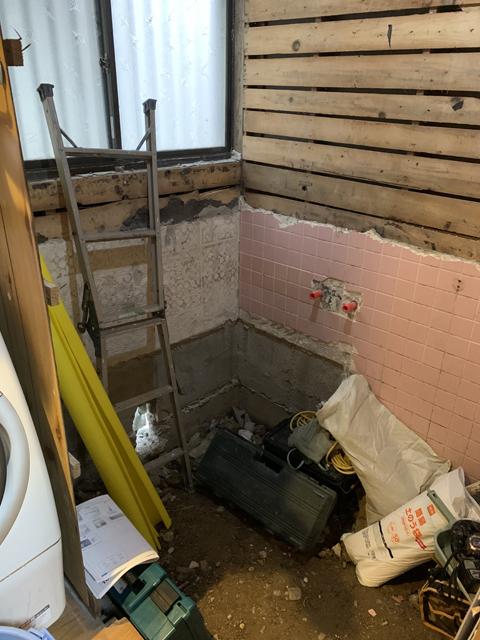 浴室施工中写真
